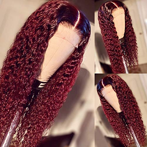 1B/99J Hair Ombre Wine Red Color Two Tone Lace Front Wigs Curly Hair Glueless Lace Wig Wet and Wavy Long Loose Curly 180 Density