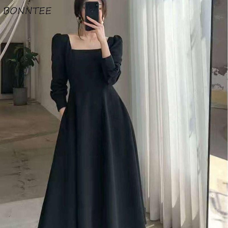 Dress women Elegant Long Sleeve Ladies New Clothing Pure Vintage Midi Square Collar Black Chic Oversize French Style Retro 2020