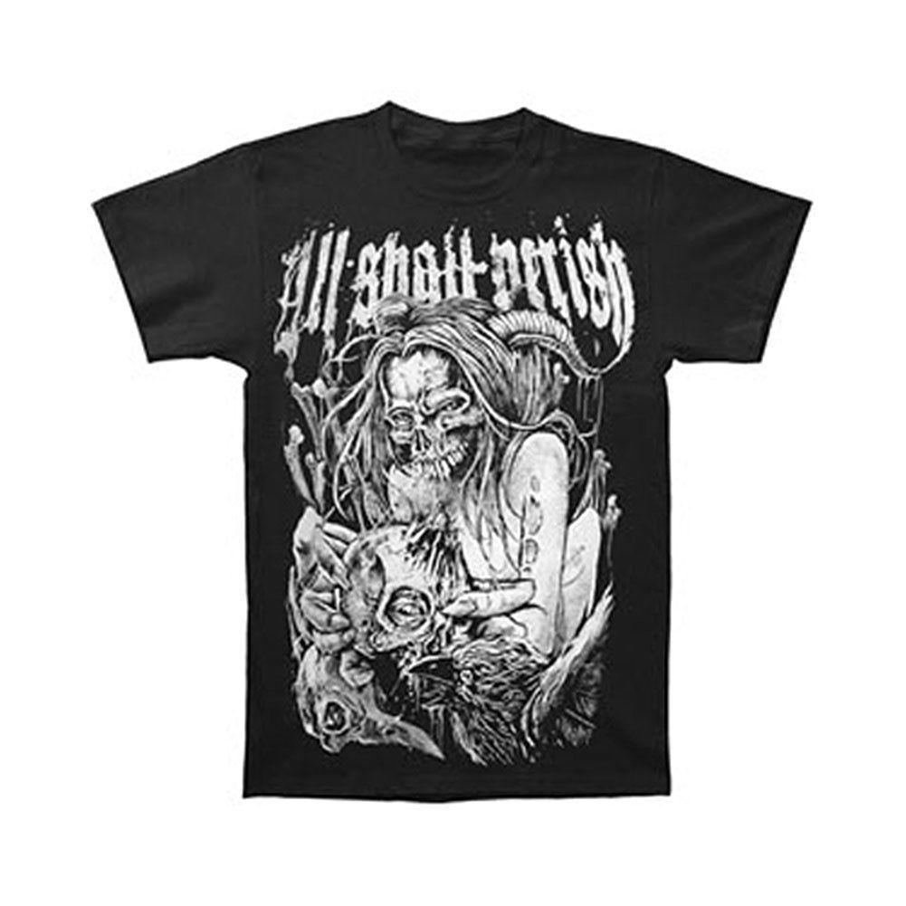 Camiseta negra con estampado de Rockabilia XXX de All Shall must para hombre