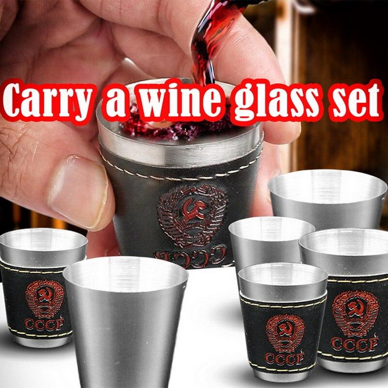 4 unids/set de vaso de chupito de acero inoxidable con Tapa de cuero y pulido, copas de vino, copas de vino, cerveza, tazas para whisky, taza de viaje