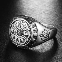 new religious buddhism lotus pattern ring mens ring fashion metal ring religious rune amulet jewelry party accessories