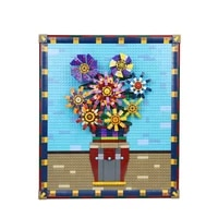 moc pixel art sunflower mosaic painting set diy world masterpiece van gogh building block gift art decorative painting