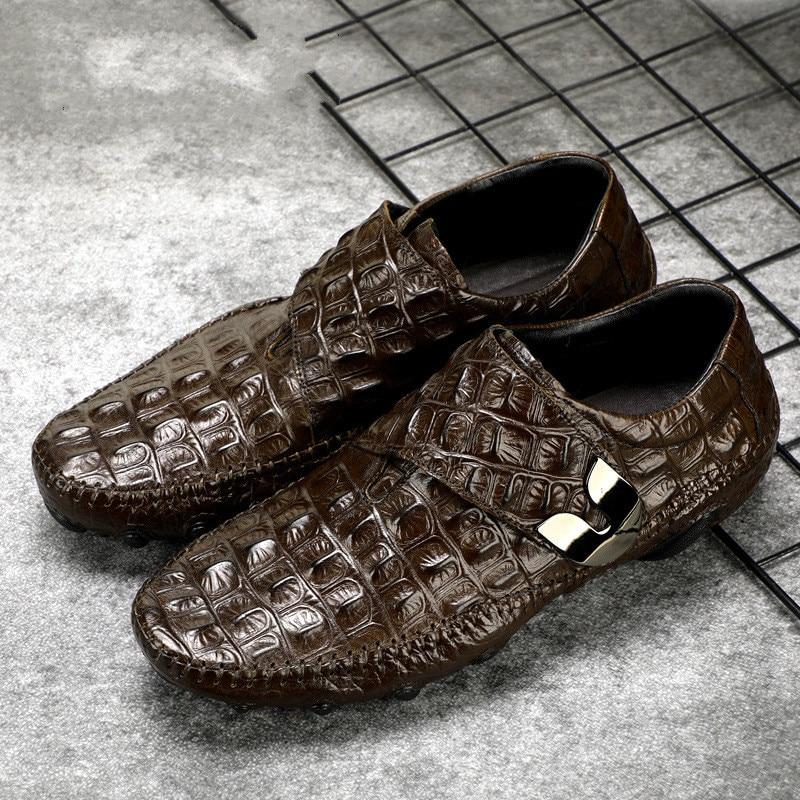 Mode Aus Echtem Leder Qualität Männer Stiefel casual schuhe Krokodil muster Männer Schuhe Männlichen Knöchel Schwarze stiefel zapatos de hombre