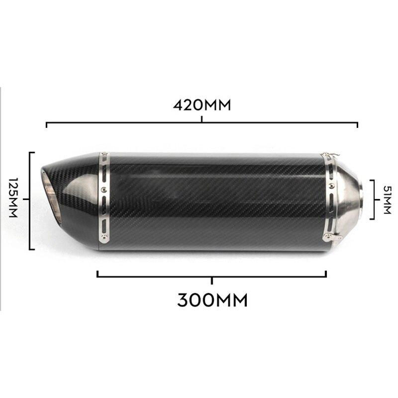 Универсальный выхлопной глушитель для мотоцикла из углеродного волокна, 51 мм, выхлопная труба для мотоцикла 420 мм, для мотоцикла gsr 600 cb650f R77 RS...