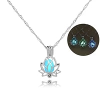 2021 yoga lotus pendant jewelry luminous necklace photo box fashion jewelry gift accessories
