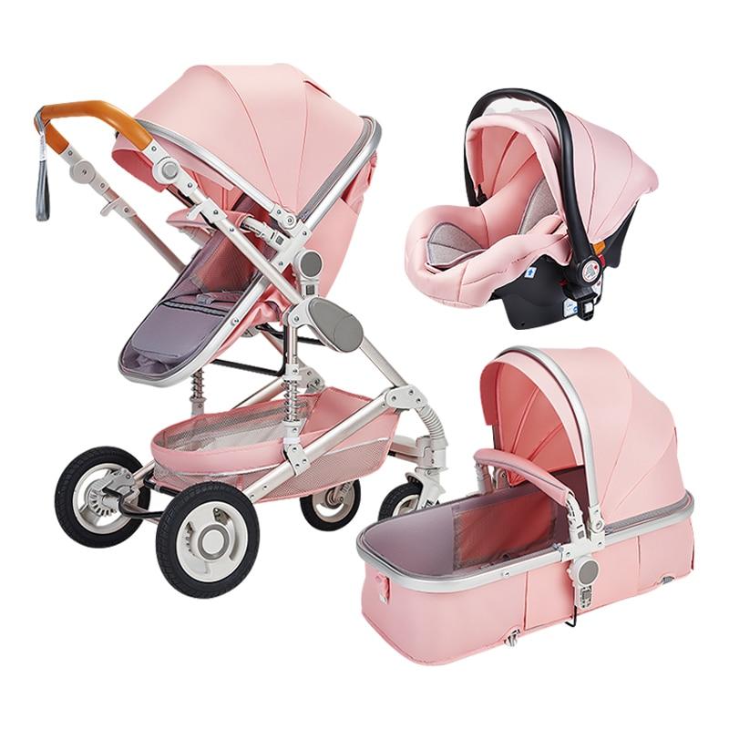 2021 Baby Stroller 3 In 1 High Landscape Stroller Reclining Baby Carriage Folding Stroller Puchair Newborn Car Aluminum Frame enlarge