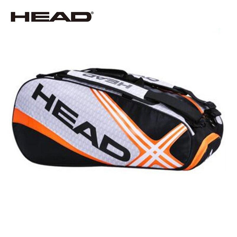 Bolsa de raqueta de tenis con cabeza de bádminton, doble hombro con bolsa para zapatos, puede sostener 6-9 raquetas, mochila de entrenamiento deportivo, para hombres y mujeres, Squash