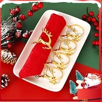 6pcs deer christmas napkin ring holders reindeer napkin buckle for holiday dinners parties table decoration accessories