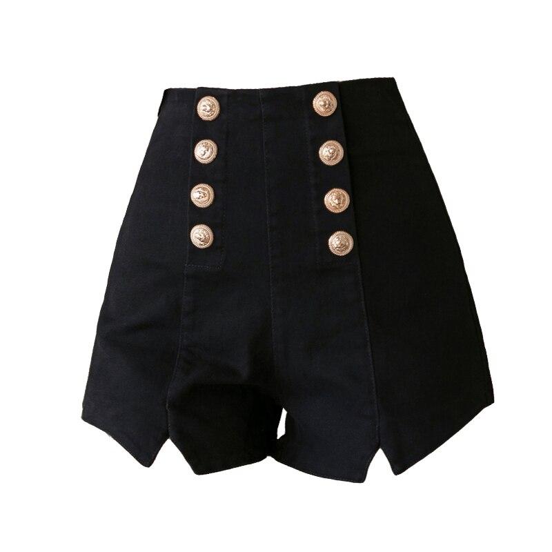 Lucyever sexy clube feminino shorts moda duplo breasted elástico de cintura alta verão preto harajuku zíper ampla perna shorts 2020