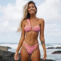 2021 new sexy one shoulder red white striped bikini swimwear explosion split push up maillot de bain feme swimsuit wholesale