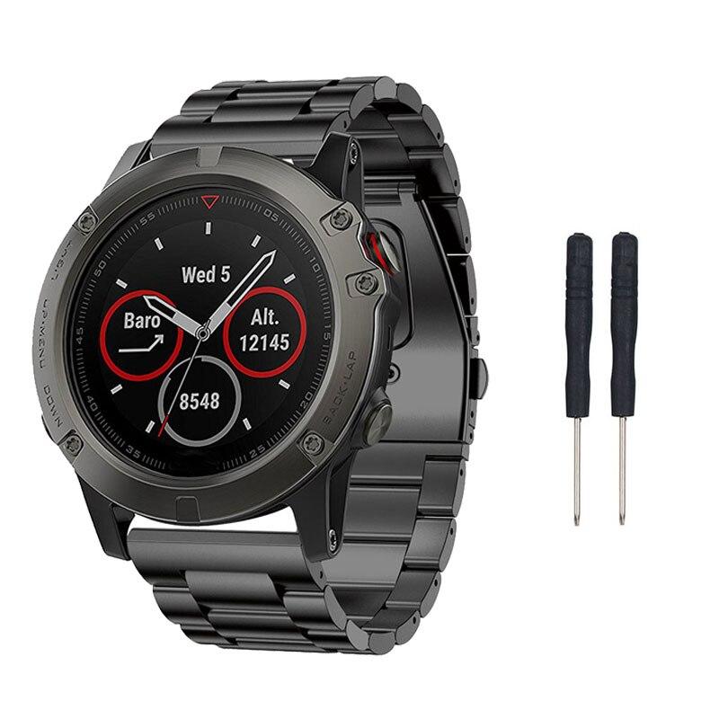 De Metal reloj banda de acero inoxidable correa de pulsera para Garmin Fenix 6X/5X Plus/Fenix 3/3 HR/D2/descenso Mk1 GPS reloj inteligente Accessry