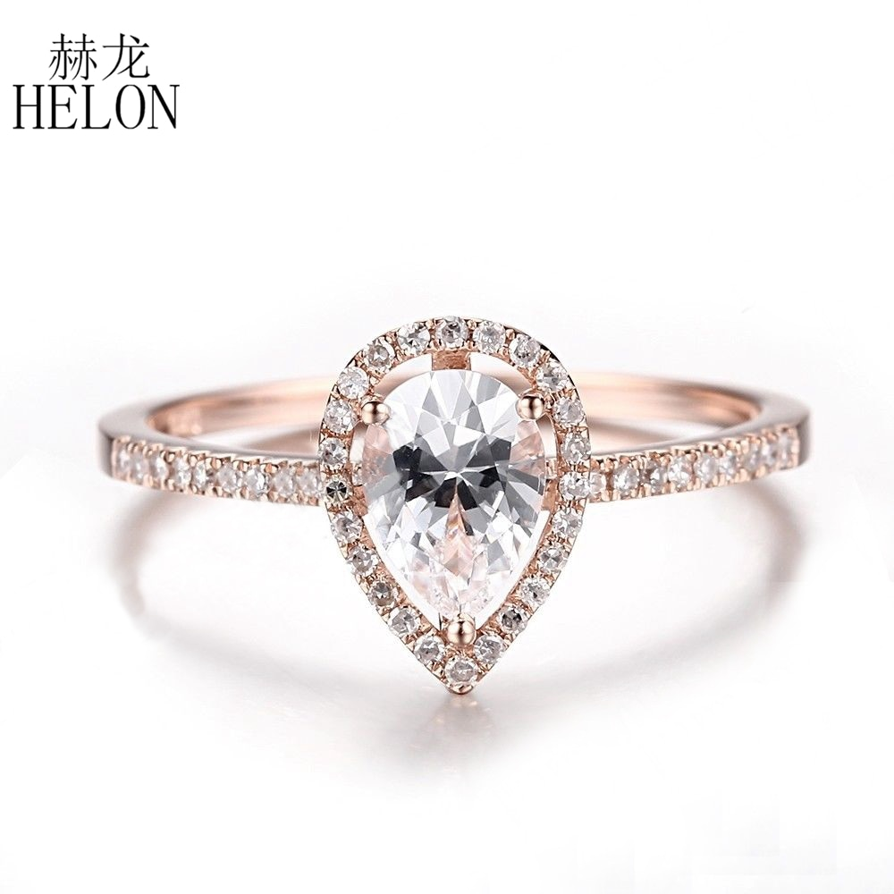HELON-خاتم من الذهب الوردي المويسانتي للنساء ، خاتم ، خطوبة ، زفاف ، 14 قيراط ، 7 × 5 مللي متر ، الماس المزروع في المختبر ، المويسانتي