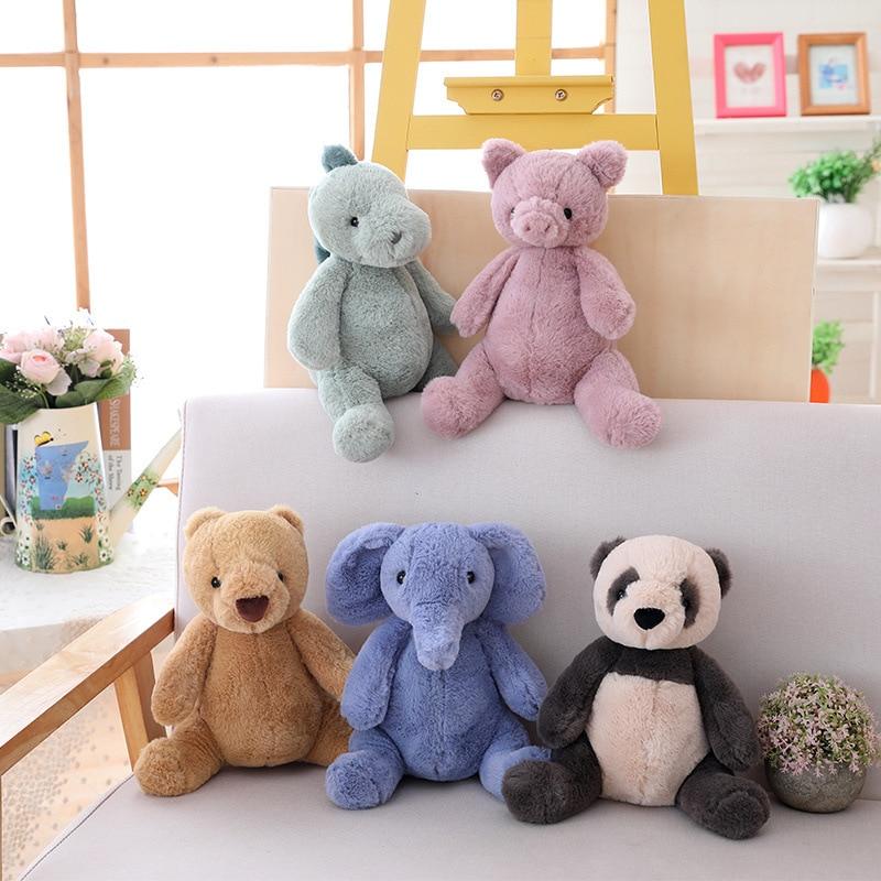 25cm Cute Elephant Panda Plush Toys Soft Bear Pig DinosaurStuffed Doll Gift For Children Forest Animal Doll Kids Appease Toys