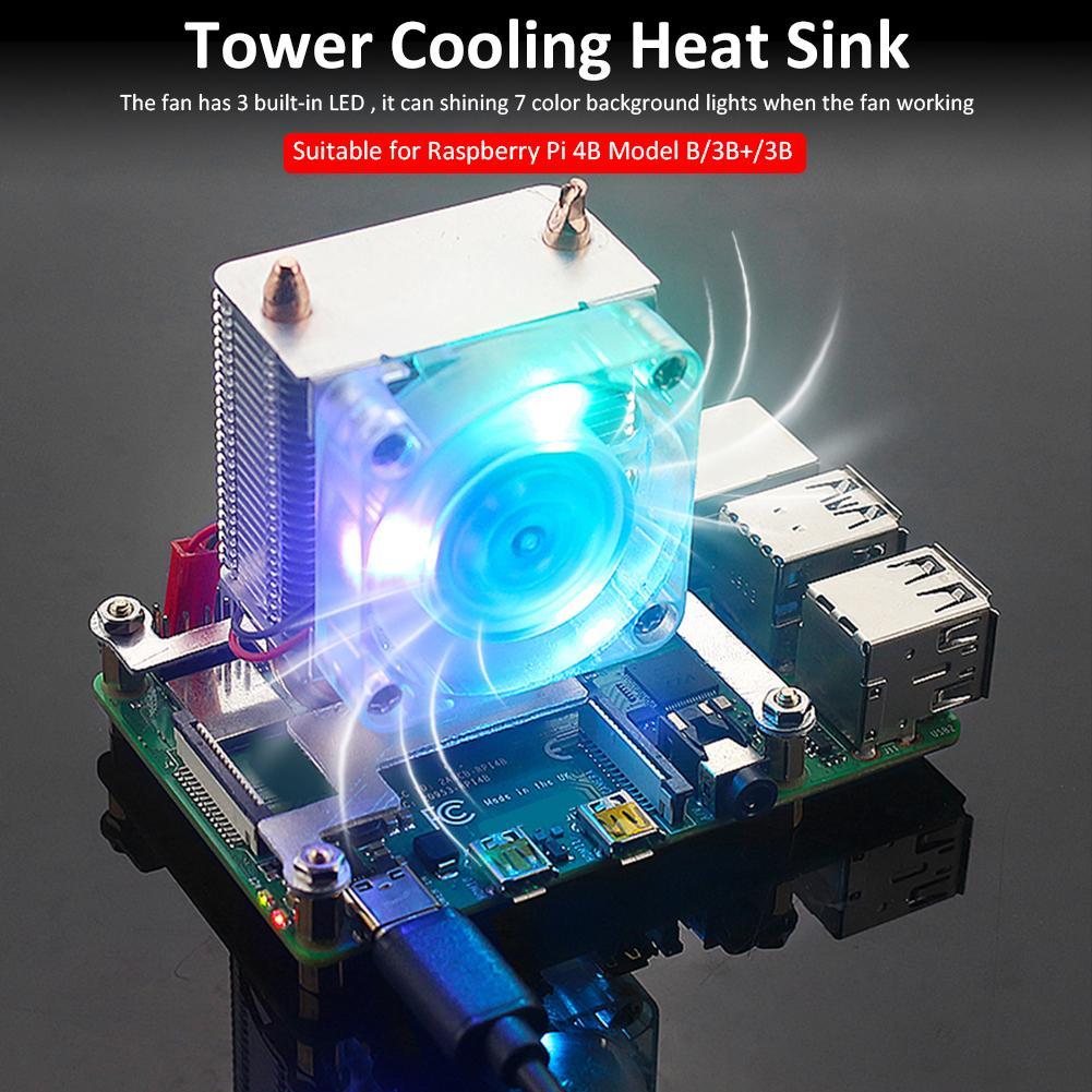 برج مروحة التبريد ل التوت بي و بي 4B 3B + 3B المبرد سيليكون بالوعة الحرارة مع مصباح ليد ملون ل التوت بي 4B/3B +