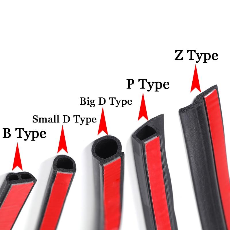 3 Meters DIY Car Door Seal Strip Stickers Anti-Dust Soundproof Sealing Big D Z P Type Noise Insulation Auto Interior Accessories