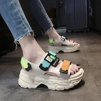 internet hot thick bottom womens sandals summer 2021 new summer muffin wedge velcro ins fashion sports breathable shoes