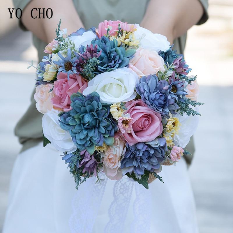 YO CHO-باقة الزفاف من زهور الداليا الاصطناعية ، باقة الزفاف الرومانسية باللون الأبيض والوردي والأرجواني والأزرق من الحرير الصناعي