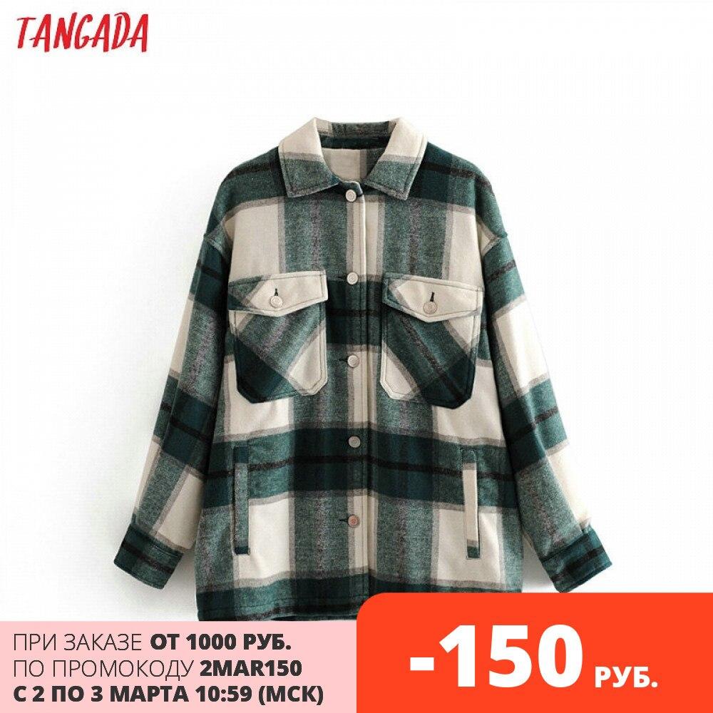 Tangada 2020 Winter Women green plaid Long Coat Jacket Casual High Quality Warm Overcoat Fashion Lon