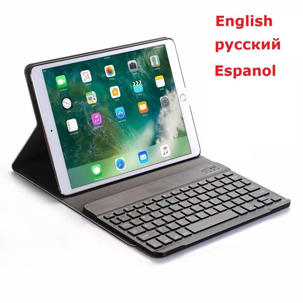 حافظة لوحة المفاتيح لجهاز iPad mini 4 mini 5 حافظة لوحة المفاتيح الروسية الإسبانية كلمة A1538 A2124 لاسلكي PU لجهاز iPad mini 4 5 غطاء لوحة المفاتيح