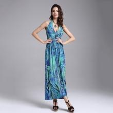 Summer Casual Printed Empire Waist Women Beach Dress Halter Off Shoulder V Neck Sexy Slim Dress Fashion New 2020 Vestidos Largos