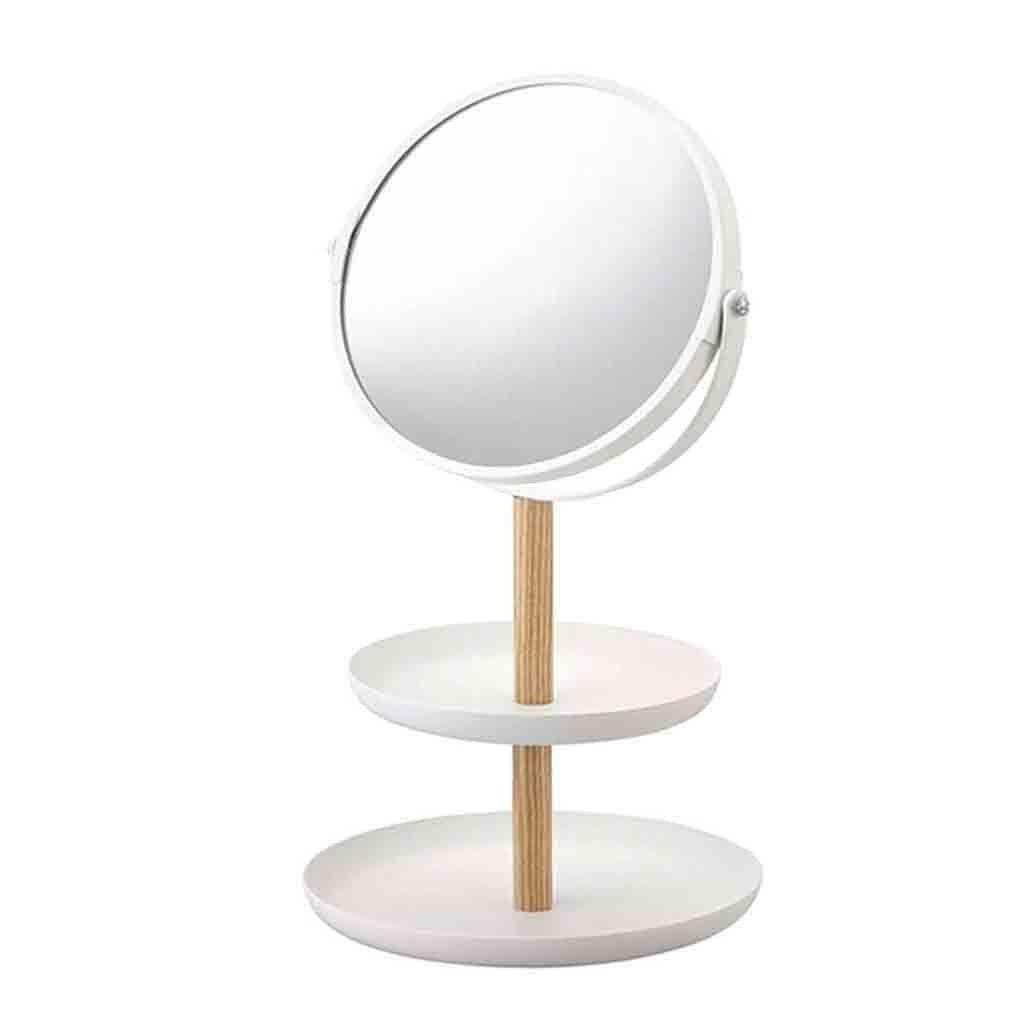 Espejo de maquillaje con soporte para bandeja de maquillaje, espejo almacenamiento con aumento, rotación de doble cara, espejo de maquillaje blanco Oct