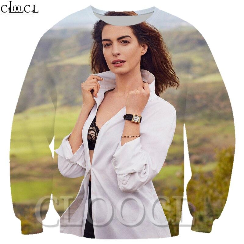 Sudadera con capucha Unisex con estampado 3D de estrella Casual Anne Hathaway estilo Harajuku cuello redondo