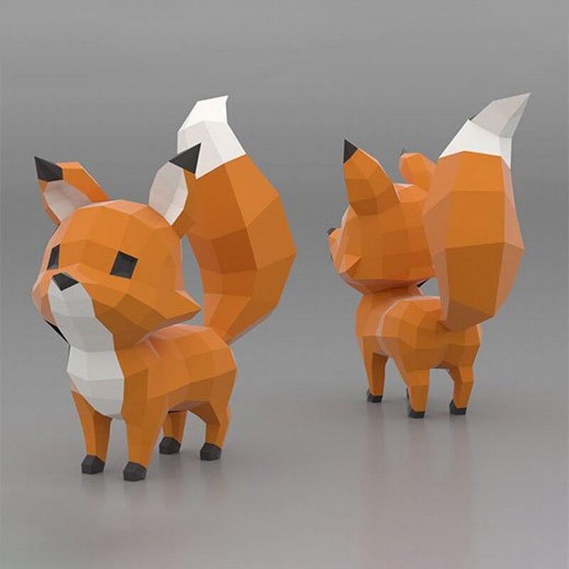 Bonito juguete 3D de zorro con diseño de Animal, decoración para el hogar, decoración para sala de estar, papel para manualidades, modelo de fiesta, regalo, decoración creativa hecha a mano