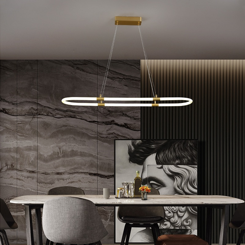 Nordic chandelier creative modern simple bar dining room table table led all copper dining room chandelier  pendent lamp