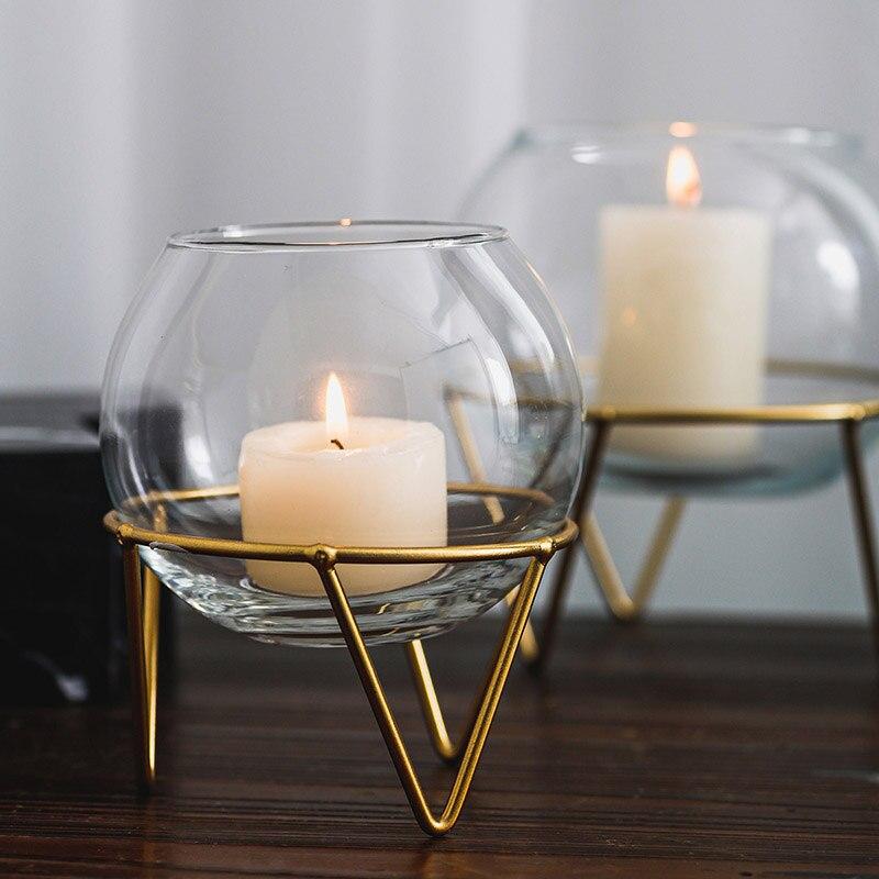 Portavelas de Metal transparente de Cristal Estilo nórdico geométrico, Portavelas de vela,...
