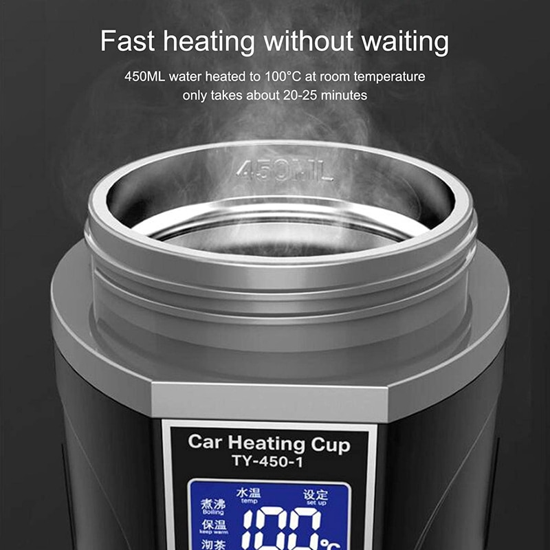 450Ml Stainless Steel Car Electric Heating Mug with Lid  12 24V Smart Car Home Heating Cup with LCD Display
