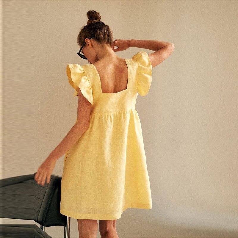 Платье Muiches женское повседневное с квадратным вырезом и рукавом-бабочкой милое льняное однотонное свободное мини-платье с открытой спиной и высокой талией лето платье летнее женское2021   Женская одежда   АлиЭкспресс