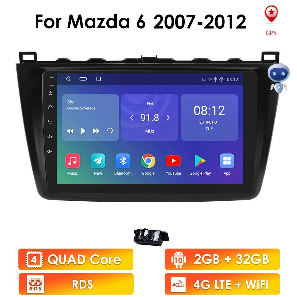 2G + 32G أندرويد 10 DSP راديو السيارة الوسائط المتعددة مشغل فيديو لمازدا 6 2007 2008 - 2012 الملاحة لتحديد المواقع 2 din DVD RDS 4G LTE واي فاي BT