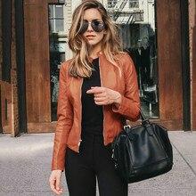 2020 primavera jaquetas femininas curto roupas de couro do plutônio sólido cropped casaco cardigan zíperes outwear outono