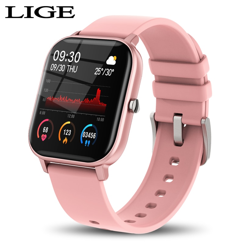 LIGE New P8 1.4 inch Full Touch Women Digital Watches Waterproof Sports For xiaomi iPhone Multifunct