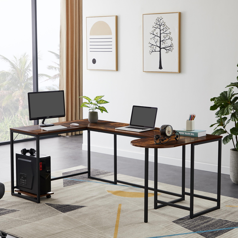 Офисный U-образный компьютерный стол, промышленный угловой письменный стол с подставкой для процессора, игровые столы, рабочая станция, сто...
