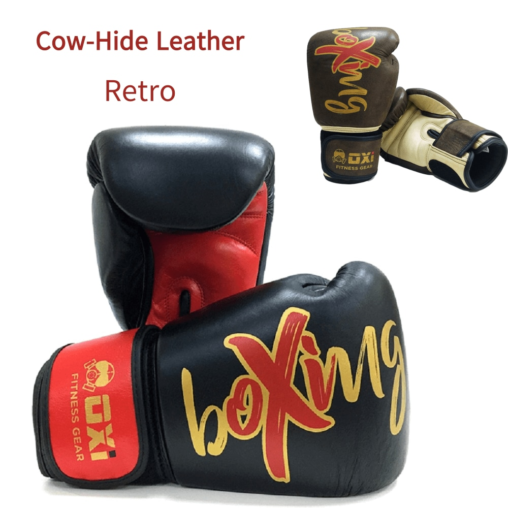 OXI Retro Boxing Gloves 10OZ-16OZ Cow-Hide Leather Kickboxing MMA Gym Training Punching Fighting Gloves Professional Fitness