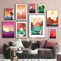 abstract mountain sun tree cactus bird couple wall art canvas painting nordic poster and prints wall pictures for living room