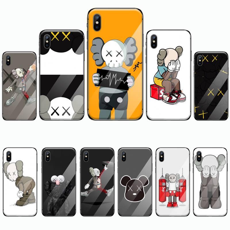 Carcasa de vidrio templado para iphone 6 6S 7 8 plus X XS XR 11 PRO MAX a la moda con dibujos animados KAW DIY