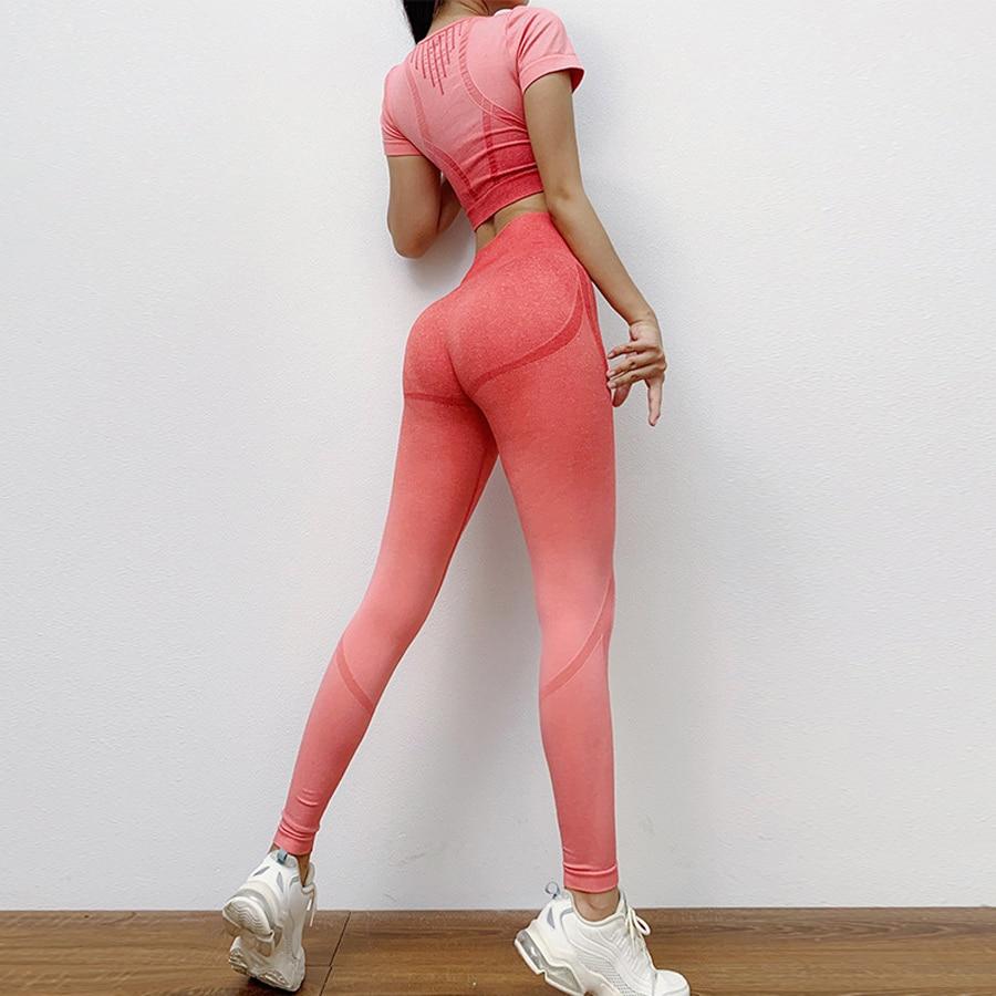 BINAND Seamless Yoga Set Hollow Sports Suit Women Yoga Top Gradient Fitness Leggings Gym Set Sportswear Women Slim Gym Clothing