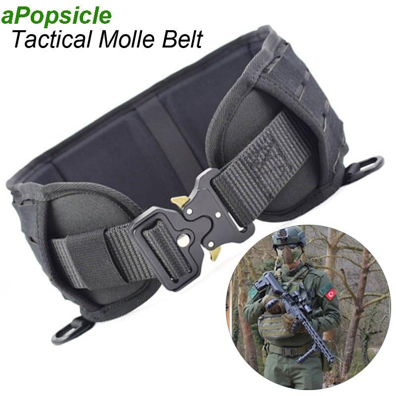 Ajustable de formación militar táctico cinturón hombre policía cinturón de Molle táctico banda de soporte para cintura de combate caza CS cintura