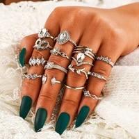 15pcsset boho drop crystal leaves hollow heart ring set fashion flower vine gemotric finger rings jewelry
