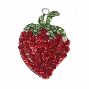 10pcs/lot  Fashion Jewelry Enamel Rhinestone Fruit Strawberry Character Pendant For Necklace