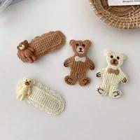 cartoon cute bear top clip for women girls nice looking knitted hairpins handmade simple all match korean style headdress