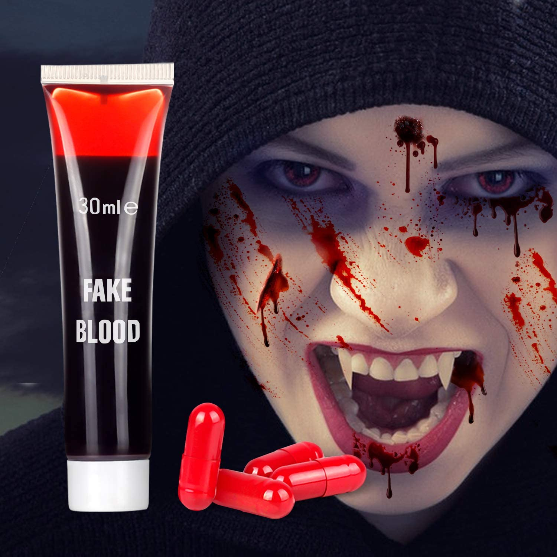 Хэллоуин искусственная кровь макияж-лицо искусственная кровь краска для макияжа, моющееся лицо Зомби Кровь макияж для одежды и рта