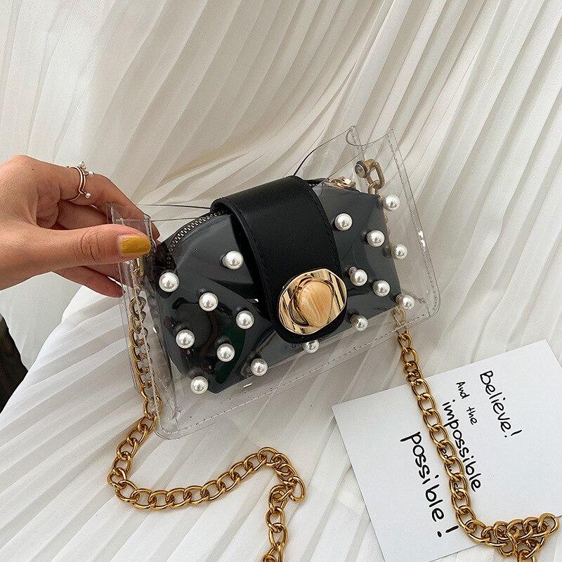 Mujeres 2019 nueva versión Chaohan bolsa de jalea de perlas transparente cadena ins 100 hombro oblicuo span pequeña bolsa cuadrada