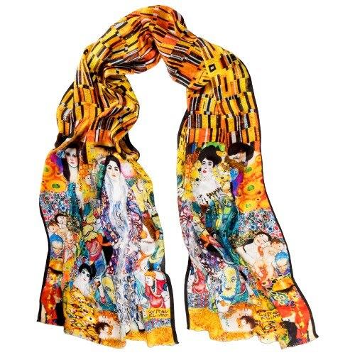 جلايجا-وشاح من الحرير البورسا ، مزيج Klimt ، زخارف فنية ، أصفر-أبيض ، للنساء ، صنع في تركيا ، حرير طبيعي ، 100% × 45 سم ، 165