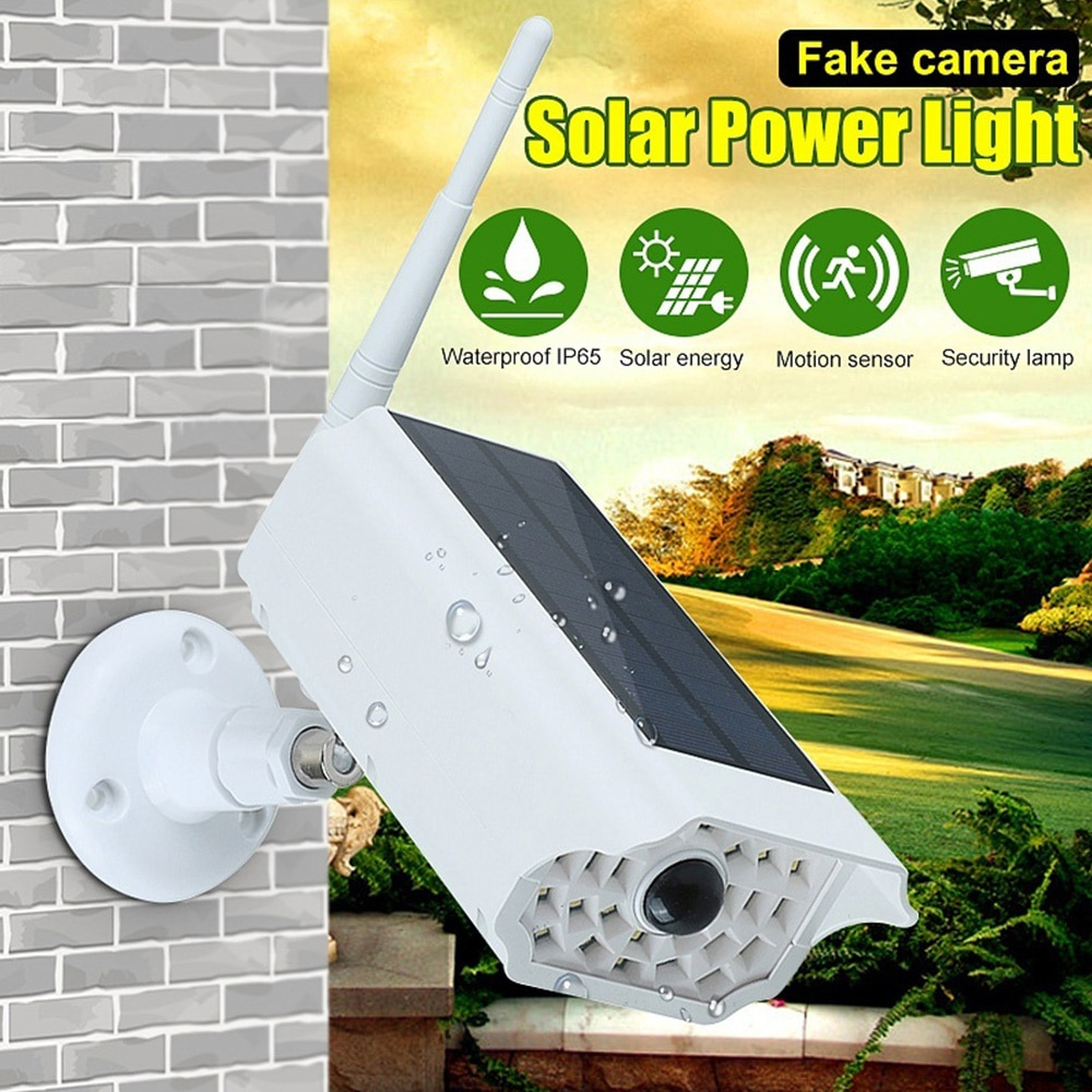 Solar Power Outdoor Simulation Dummy Camera Waterproof Security CCTV Surveillance LED Street Wall Light