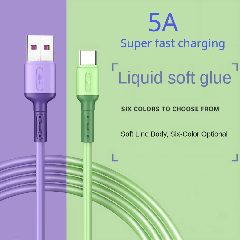 USB Type C Cable 5A Liquid Silicone Fast Charging Micro USB Cable for Samsung Xiaomi HTC Huawei Char