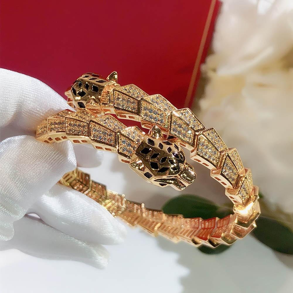 موضة الاتجاه المبالغة الذهب ثعبان ليوبارد رئيس سوار مطاطا AAA الزركون الرجال والنساء ماركة مجوهرات حفلة Hot البيع
