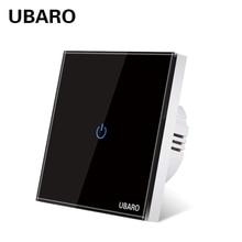 UBARO EU AC100-240V Tempered สีดำคริสตัลสีขาว Touch Wall Light Sensor ปุ่ม1/2/3 Gang Led ตัวบ่งชี้